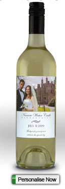 wedding picture and message on a wine bottle