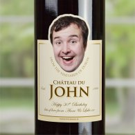 Personalised 70th Birthday Gift BIG FACE Wine Bottle