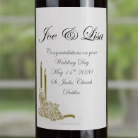 Gold Candlelight Rose Personalised Wedding Labelled Wine