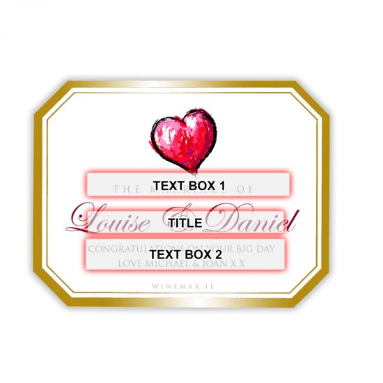 Gold Heart Personalised Wedding Champagne - Click Image to Close