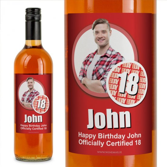 18 Cert Personalised Birthday Gift Labelled Wine - Click Image to Close