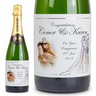 Gold Bride and Groom Personalised Wedding Labelled Wine