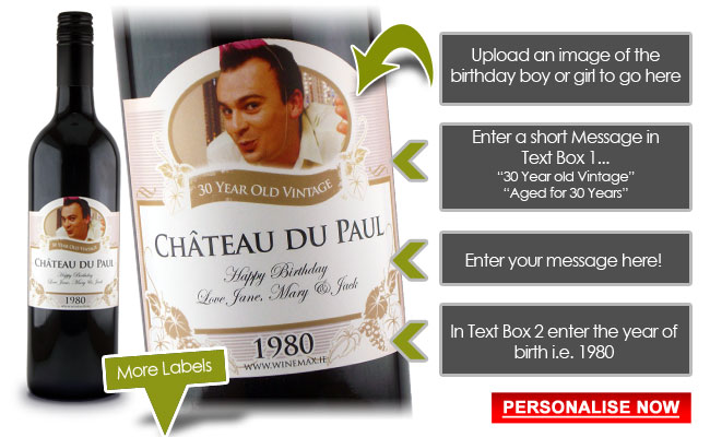 Funny 30th Birthday Gift Idea Personalised Wine