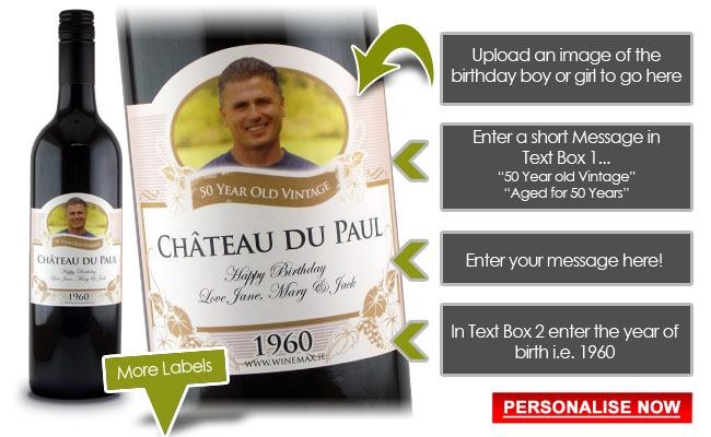 50th Birthday Gifts Funny Gift Idea Personalised Wine