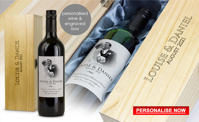 Personalised Wedding Wine Gift and Engraved Wooden Box