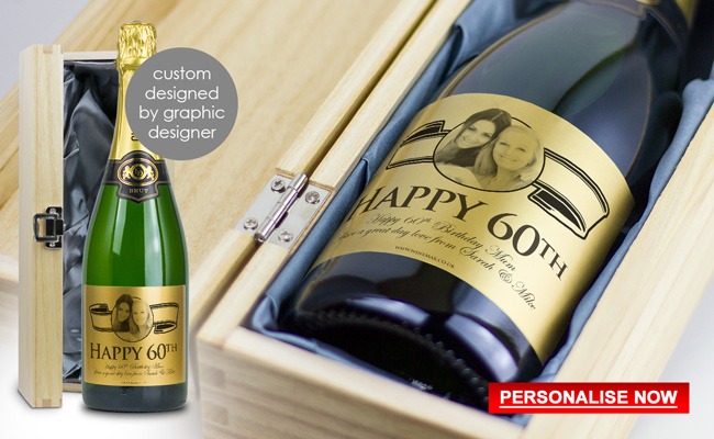 Personalised 60th Birthday Gift Champagne