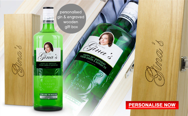 Personalised Gordons Gin and Engraved Wooden Gift Box 70th Birthday Gift