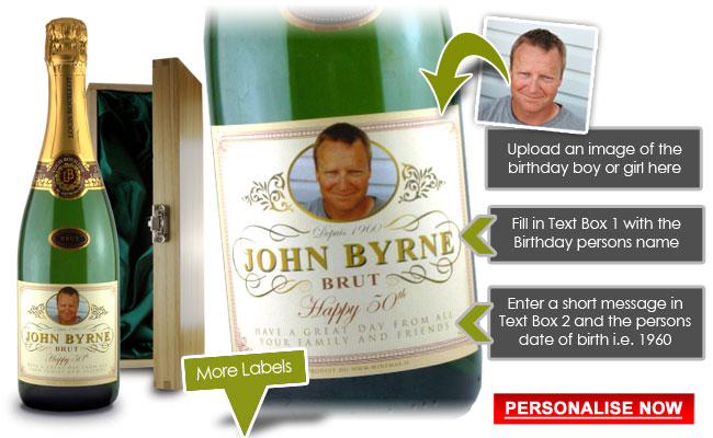 personalised champagne birthday gifts